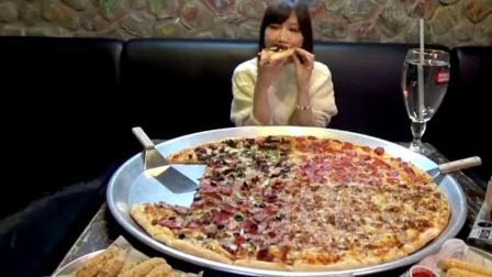 大胃王木下吃亚洲最大的披萨, 32寸有多大一起来看看, 不撑吗?