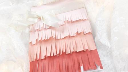 简易贺卡制作, 手把手教你做漂亮的彩色立体渐变裙边贺卡