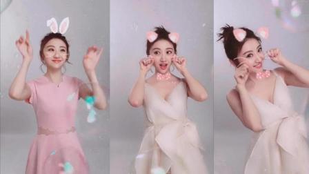 景甜身穿粉色连衣裙甜蜜学猫叫, 满屏都是粉红泡泡