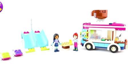 儿童早教益智汽车玩具 乐高欢乐游乐园房车积木玩具