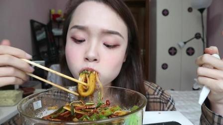 上海吃播, 美女吃超辣的夫妻肺片, 好吃的不敢直视