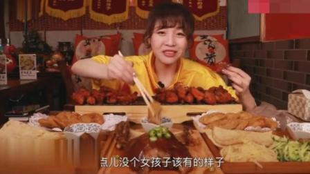 大胃王狂吃1个肘子, 2份鸡排, 2份耦合, 2份肘子卷饼!