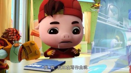 猪猪侠之超星萌宠:猪猪侠做梦吃棒棒糖,口水都流到桌子上了