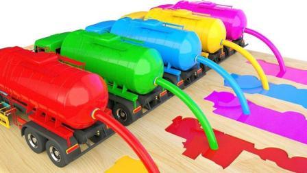彩色大卡车运输染料制作彩色小汽车