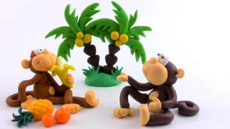 超轻粘土制作的卡通猴子, 菠萝、香蕉一大堆
