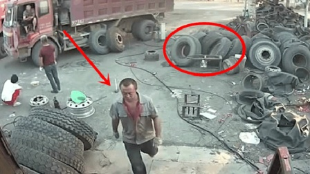 大货车补胎, 老板刚离开突然就发生悲剧了! 真是万幸