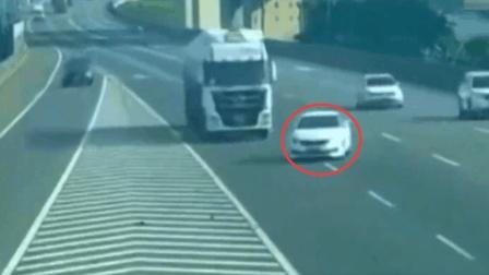 女司机太任性, 高速上横穿三车道, 大货车表示不惯着她