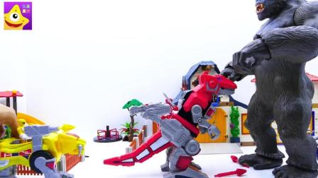 钢铁侠和恐龙战队驾驶霸王龙机器人大战金刚保护世界