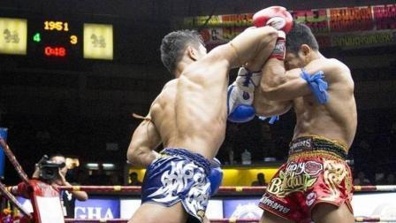 泰拳赛场上的凶狠KO! 闪电一肘对手当场失去意识