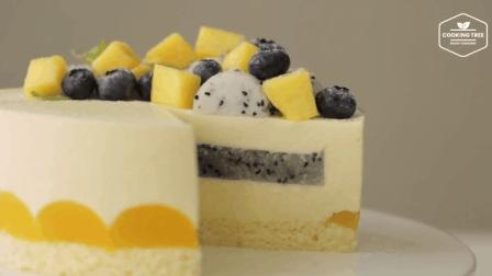 火龙果芒果芝士蛋糕Dragon fruit Mango Cheesecake Recipe