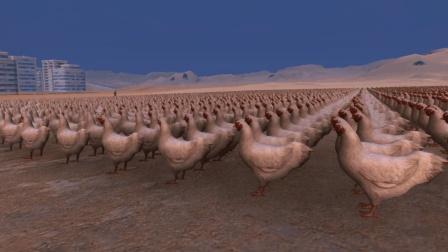 用10000只鸡围攻一只僵尸, 到底会发生什么? 画面诡异!