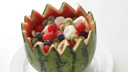 自制水果汽水西瓜碗, 美味丰富的水果甜品