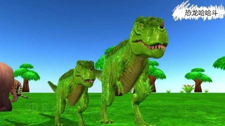 霸王龙棘背龙踢点球 恐龙动漫