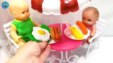 两个宝宝吃早餐, 薯条火腿肠鸡蛋, 儿童玩具, 悠悠玩具城
