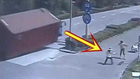 现实版死神来了, 女子离大卡车10米远, 也没能逃过厄运!