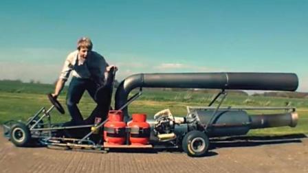 老外作死, 发明喷气式卡丁车, 边跑边冒火, 一般人不敢玩!