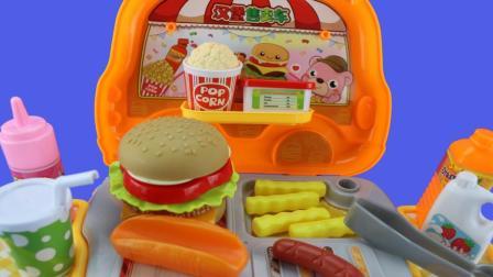 超好玩的汉堡售卖车玩具 小猪佩奇和猪爷爷一起做汉堡包