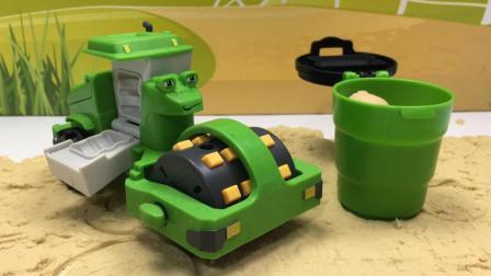 哆啦盒子玩具时间 2017 巴布工程师玩具车绿色压路车罗利玩沙套装