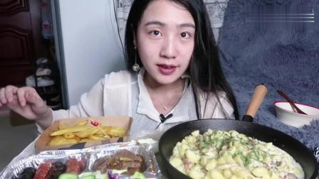 中国吃播, 美女自制奶油培根意面, 牛排德式香肠和薯角