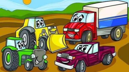 赛车总动员 挖掘机 推土机 吊车 大卡车 汽车总动员动画片中文版 大脚车越野赛