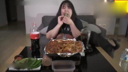韩国大胃王秀彬美食吃播, 这个芝士火锅吃的过瘾, 芝士拉出长长丝
