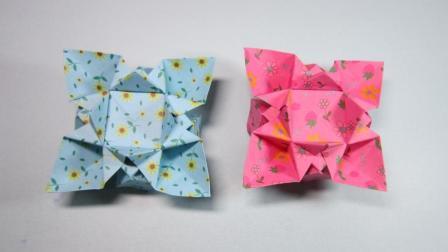 儿童手工折纸花朵, 3分钟学会漂亮星形花的简单折法