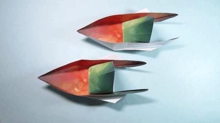 儿童手工折纸快艇, 简单漂亮的摩托艇折法, 只需2分钟