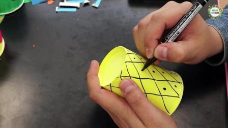 幼儿手工DIY, 简单剪纸用一次纸杯制作一个菠萝