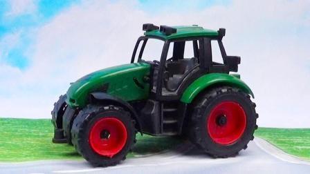 拖拉机玩具视频: 拖拉机工程车合金汽车玩具表演