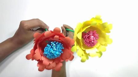 用纸制作的花朵, 用来装饰太美了, 手工DIY折纸视频教程