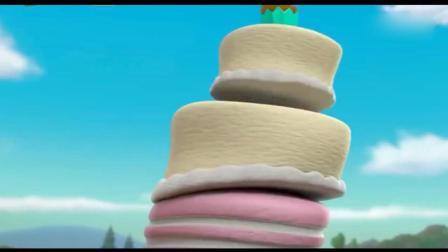 汪汪队立大功: 猫猫队暗算阿奇, 它的6层大蛋糕被毁了, 好可惜哦