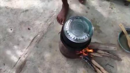 印度乡下村民做大虾吃, 永远一样的味道哈!