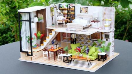 DIY漂亮小房子, 手工制作的阁楼小屋模型玩具, 让孩子在快乐中成长