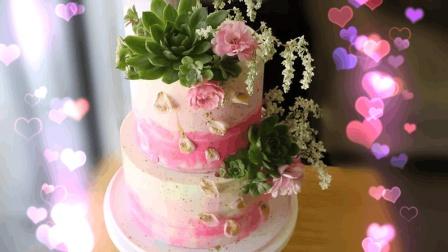 DIY鲜花多肉植物婚礼蛋糕, 美丽精致的蛋糕造型