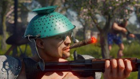 超高画质吃鸡游戏, 抽雪茄戴锅盖搞笑另类, 掉血了就吃块大烧鸡!