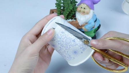 姑娘把一次性杯子剪一刀缠上线, 原来这么有用处, 有想法有创意