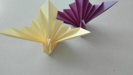 手工折纸视频, 简单的动物折纸, 孔雀开屏啦