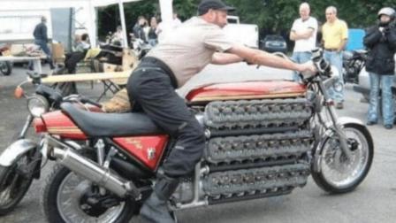 这发明真反人类, 老外花3年自制48缸的摩托车, 手臂短骑不了!