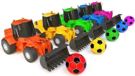 彩色工程车帮忙运输足球到达空地