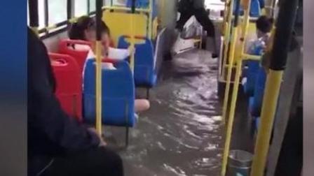 黑龙江暴雨皮划艇上街 公交遭浸泡