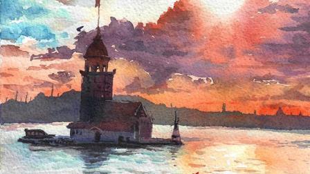 伊斯坦布尔 手绘水彩风景过程