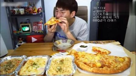 大胃王奔驰哥吃超大块披萨, 吃完还得吃两份意面加一桶可乐!