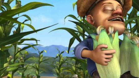 光头强摘好的玉米全部不见了, 原来是稻草人在捣乱, 真是太逗了