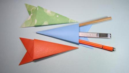 儿童手工折纸教程, 3分钟学会铅笔架的折法, 简单又漂亮