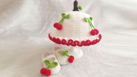 宝宝毛线樱桃帽子钩针编织,草莓花朵樱桃雏菊帽(2)