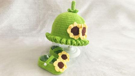 【小脚丫】向日葵帽子的钩法草莓花朵樱桃雏菊帽收针图解视频