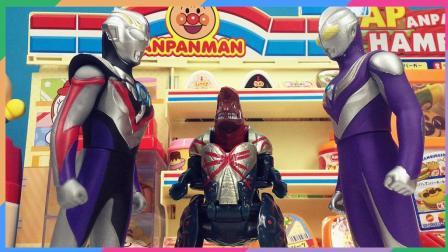 兜糖奥特曼玩具 迪迦奥特曼吃面包超人面包变身欧布奥特曼获怪兽变形蛋