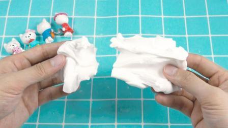 2种材料自制纸粘土, 撕开像纸, 拉开像泥, 可做史莱姆