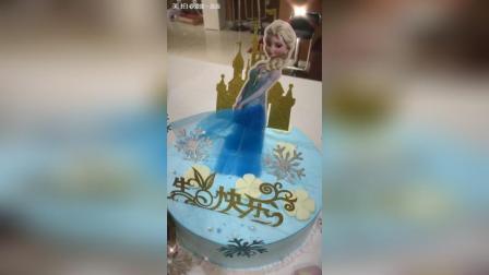 冰雪奇缘公主双层翻糖蛋糕耶
