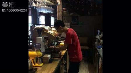 一杯咖啡拉花拿铁全过程, 附带打奶泡视频